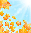 Illustration Autumn Background With Flying Maples And Sunny Beams - Vector