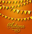 Illustration Autumn Bright Holiday Card With Hanging Bunting Pennants. Ornamental Text - Vector stock illustration