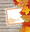 Illustration Autumn Card With Leaves Maple, Wooden Texture - Vector