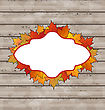 Illustration Autumn Emblem With Leaves Maple, Wooden Texture - Vector