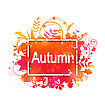 Illustration Autumn Grunge Banner Made In Leaves, Plants, Spots. Isolated On White Background - Vector