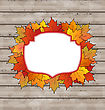 Illustration Autumn Label With Leaves Maple, Wooden Texture - Vector