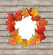 Illustration Autumn Leaves Maple With Copy Space, Wooden Texture - Vector