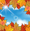 Illustration Autumn Leaves Maple, Sky, Clouds - Vector