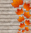 Illustration Autumn Leaves Maple On Wooden Texture - Vector stock vector
