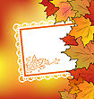 Autumn Maple Leaves With Floral Greeting Card stock vector