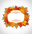 Autumnal Floral Card With Colorful Maple Leaves