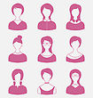 Illustration Avatars Set Front Portrait Of Females Isolated On White Background - Vector