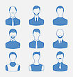 Illustration Avatars Set Front Portrait Of Males Isolated On White Background - Vector
