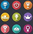 Illustration Award Flat Icons Set Of Prizes And Trophy Signs, Long Shadow Style - Vector