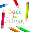 Illustration Back To School Message With Pencils On White Background - Vector