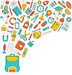 Illustration Background For Back To School, Education Simple Colorful Objects - Vector