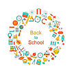 Illustration Background For Back To School, Education Simple Colorful Objects, Line Art Style - Vector stock vector