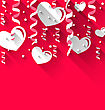 Illustration Background For Valentines Day With Paper Hearts, Streamer, Stars, Trendy Flat Style - Vector