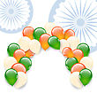 Illustration Balloons In National Tricolor Of Indian Flag For Holidays, Copy Space For Your Text - Vector
