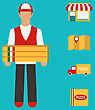 Illustration Banner With Pizza Delivery, Perfect Service. Flat Simple Colorful Icons - Vector