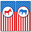 Illustration Banners With Donkey And Elephant As A Symbols Vote Of USA. United States Political Parties - Vector stock vector
