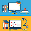 Illustration Banners With Set Of Flat Concept Icons For Education, Distance Education, Training - Vector