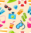 Illustration Beach Seamless Pattern With Tourism Objects And Equipments, Colorful Flat Icons - Vector