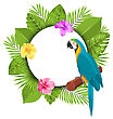 Illustration Beautiful Card With Parrot Ara, Colorful Flowers Blossom And Tropical Leaves - Vector