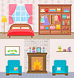 Illustration Bedroom With Furniture, Window And Wardrobe. Living Room With Armchairs And Fireplace - Vector