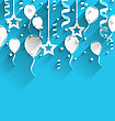 Illustration Birthday Background With Balloons, Stars And Confetti, Trendy Flat Style With Long Shadows - Vector