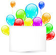 Illustration Birthday Card With Colorful Balloons With Space For Text - Vector