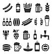 Illustration Black Icons Of Beer And Snacks Isolated On White Background - Vector stock illustration