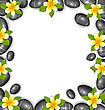 Illustration Border Made In Stones And Tropical Beautiful Flowers, Copy Space For Your Text - Vector