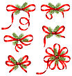 Illustration Bow Ribbons With Fir Branches Isolated On White Background. Traditional Elements For New Year And Christmas Design - Vector