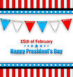 Illustration Brochure With Bunting Flags For Happy Presidents Day Of USA. Template Celebration Card - Vector