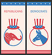Illustration Brochures For Advertise Of United States Political Parties. Flyers With Donkey And Elephant. Old Style Design - Vector