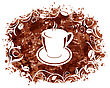 Illustration Brown Grungy Banner With Coffee Cup And Beans - Vector