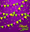 Illustration Bunting Background For Mardi Gras, Poster For Fat Tuesday - Vector