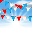 Illustration Bunting Flags For American Holidays, Patriotic Colors Of USA - Vector