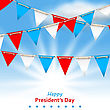 Illustration Bunting Flags In Patriotic Colors Of USA For Happy Presidents Day - Vector stock vector