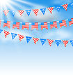 Illustration Bunting Garlands In Traditional American Colors For Independence Day - Vector stock vector