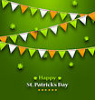 Illustration Bunting Pennants In Irish Colors And Clovers For St. Patrick's Day - Vector