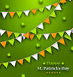 Illustration Bunting Pennants In Irish Colors And Clovers For St. Patricks Day, Design For Poster, Invitation, Card Etc. - Vector