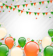 Illustration Buntings Flags Garlands And Balloons In Traditional Tricolor Of Flag For Independence Day - Vector