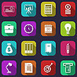 Illustration Business And Financial Items, Colorful Flat Icons With Long Shadows - Vector
