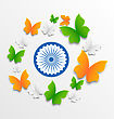 Illustration Butterflies In Traditional Tricolor Of Indian Flag And Ashoka Wheel For Independence Day - Vector