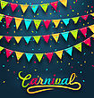 Illustration Carnival Party Dark Background With Colorful Bunting Flags - Vector stock vector