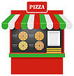 Illustration Cart Of Pizza Isolated On White Background, Pizzeria Stand, Pizza Vendor - Vector