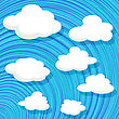Cartoon Style Clouds Over A Blue Sky Design.