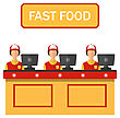 People Eating  Illustration Cashiers With Cash Register In Diner With Fast Food - Vector stock illustration