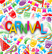 Illustration Celebration Background With Party Colorful Icons And Objects For Carnival - Vector