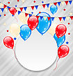 Illustration Celebration Card With Balloons In American Flag Colors - Vector