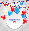 Illustration Celebration Card With Balloons And Hanging Bunting Pennants In American Flag Colors For Independence Day - Vector