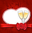 Illustration Celebration Card Heart Shaped With Silk Bow, Red Rose And Wineglasses Of Champagne For Happy Valentines Day - Vector